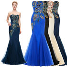PEACOCK Mermaid Long Wedding Bridesmaid Dress Ball Gown Evening Party PROM Dress