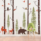 Simple Shapes Birch Trees with Animals Wall Mural