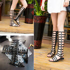Ladies Womens Gladiator Sandals Strappy Flat Knee High Zip Up Boots Shoes Size K