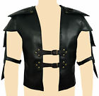 MENS REAL BLACK LEATHER HEAVY DUTY STEAMPUNK VICTORIAN ARMOUR -B27