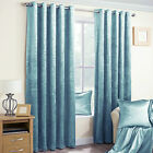DUCK EGG CRUSHED VELVET PAIR METALLIC EYELET RING TOP READY MADE LINED CURTAINS