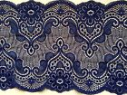 """Laces Galore""~Pretty Navy Blue Soft Stretch Lace 17cm/6.75"" Trim Craft"