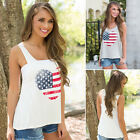 New Women Love heart American flag sleeveless big O-neck tank top Blouse