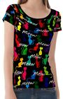 Colorful Cats Women Lady Scoop Neckline Tee T-shirt b24 acq02600