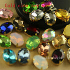 30 14x10mm oval crystal glass sew on foiled  rhinestones gold plate jewels/beads
