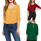New Stylish Women Loose 3/4 Sleeve Chiffon Casual Blouse Shirt Tops Scoop Neck