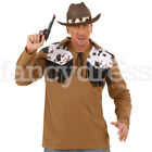 Men's Rodeo Cowboy Western Cow Print Shirt Fancy Dress Mens Costume NEW