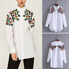 Womens Fashion Colorful Floral Embroidery Casual Long Sleeve Blouse Shirt Top