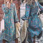 Bohemia Boho Floral Print Summer Lady Long Sleeve Maxi Beach Dress Sundress New