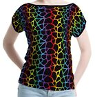 Rainbow Animal Print Women Boat Neckline Short Sleeve Top Blouse b41 acr00887