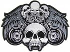 Embroidered Biker Skulls and Motorcycles Large Back PATCH