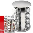 Внешний вид - Stainless Steel Round Revolving Kitchen Spice Rack & Glass Jars Christmas Gift