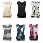 Women's Scoop Neck Sleeveless Front Pleated Banded Hem T Shirt Blouse Top