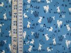 Frolic with White Rabbits on Blue 100% cotton Michael Miller Fabric