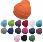 Euro Knitted Winter Beanie Cap Hat With Turn Up in 16 Colours - BNWT