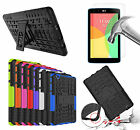 Rugged Stand Shockproof  Hybrid Case Cover Tempered Glass For LG G Pad 3 / X 8.0
