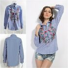 Fashion Womens Floral Embroidered Blouse Long Sleeve Blue Striped Shirt Tops
