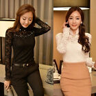 Women's New Fashion Vintage Beaded Long Sleeve Tops Lace T-shirt Ladies Blouse