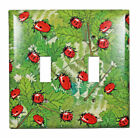 Red Beetle Ladybugs Double Switchplate Cover