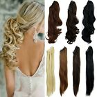 UK Clip In Ponytail Pony Tail Hair Extension Claw On Hairpiece Wavy Straight f5d