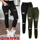 UK Women Stretchy Ripped Pants Ladies Slim Fit Skinny Jeggings Leggings Trousers