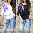 New Fashion Womens Baggy Batwing One Sleeve Floral Print Jumper Top Shirt Blouse