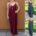 Women's Long Maxi  V-neck Spaghetti Strap Loose Dress Wine Red Party Summer Club
