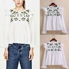 Fashion Women Embroidered Floral Blouse Long Sleeve Ruffled T-shirts Tops Shirts
