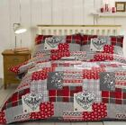 Alpine Patchwork Red 100% Brushed Cotton Flannelette Duvet Cover Winter Bedding