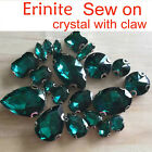 Sparkle Erinite Rhinestone Sew On Crystal Faceted glass Navette/teardrop Jewels