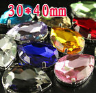 12p Rhinestone 30x40mm color Sew On Crystal Teardrop Fancy glass big Stone dress