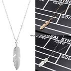 New Women Feather Pendant Necklace Long Sweater Chain Wedding Party Jewelry