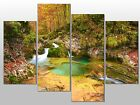 LANDSCAPE WATERFALL ROCKS SCENERY LARGE SPLIT FOUR PANEL CANVAS WALL ART IMAGE