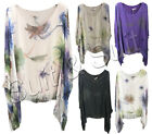 New Womens Ladies Italian Lagenlook Blossom Print Baggy Flowy Batwing Tunic Top