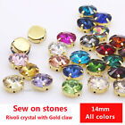 20P 14mm Round beads Faceted Point Front Sewing On Flat Back crystal rhinestones