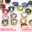 20p 6mm Round Rivoli color Czech Crystal rhinestones Link Connector Charms Beads