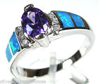 Purple Amethyst & Blue Fire Opal Inlay Solid 925 Sterling Silver Ring size 6-10