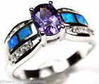 Amethyst & Blue Fire Opal Inlay Genuine 925 Sterling Silver Ring size 6789