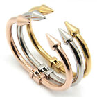18K Silver Rose Gold Plated Stainless Steel Nail Design Nail Bangle Bracelet