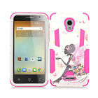 For Alcatel Fierce 4 Advanced Layer HYBRID KICKSTAND Rubber Case Phone Cover
