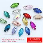 12p color Rhinestones 17x32mm Navette Crystal stones Sew On Costume Dress beads