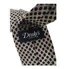 DRAKE'S LONDON men'S tie fantasy grey cm 7 100% wool MADE IN ENGLAND