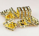 5mm/6mm/8mm/10mm Silver Plated Czech Crystal Rhinestone Square Spacer Beads