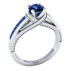 Women 925 Silver Jewelry Round Cut Blue Sapphire Fashion Wedding Ring Size 6-10 image