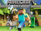 EDIBLE Minecraft Image Cake Topper Birthday Party Wafer Paper Sheet (8x10.5