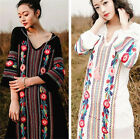 Women Long Sleeve Embroidered Vintage Maxi Tunic Boho Gypsy Hippie Beach Dress