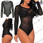 New Womens Ladies Crew Neck Full Sleeve All over Mesh See Through Bodysuit Top