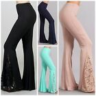 Chatoyant DREAM WEAVER Boho Super Flare Bell Bottom Knit Pants w/Lace Inset S-L