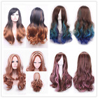 """70cm 27"""" long hair Fashion Party Wave Curly Brown Gradient Mix Color Cosplay Wig"""