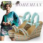 Women New Summer wedges beach thick Weaving High Heel sandals Students' shoes